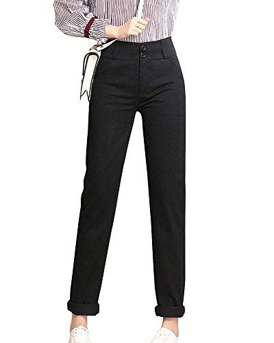 Vita Pulsanti Alta Casuali Matita Ufficio Nero Tasche Due Donna Pantaloni Eleganti zxwBzF