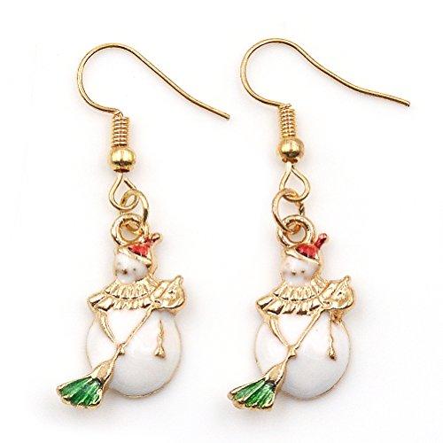 JUNKE Christmas Gift Mini Gold Silver Tone Christmas Earrings Hooks Christmas Snowman Earrings for Girls Women