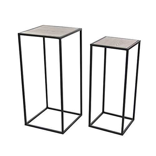 Deco 79 65624 Square Iron and Pine Wood Pedestals (Set of 2), Brown/Black Square Pedestal Wood
