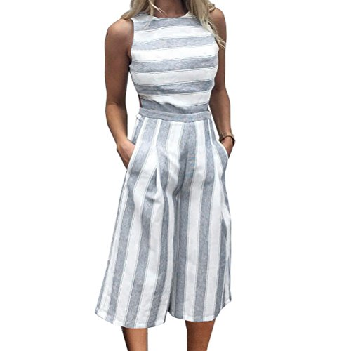 VertHome Women's Hollow Out Stripe Romper Cut-out Sleeveless Cropped Pants Jumpsuit ()