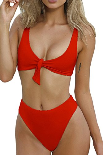 Summer Bay Womens Tie Knot Front High Waist Thong Bandage 2PCS Bikini Sets - Set Bay Summer