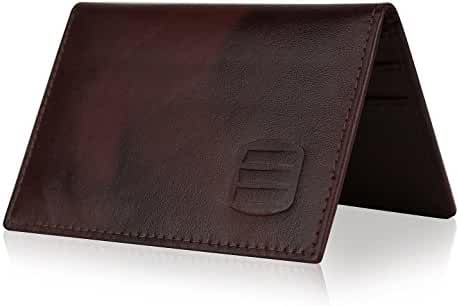 Suvelle Mens Slim Leather RFID Card Wallet, Thin Minimalist Front Pocket Wallet WR100