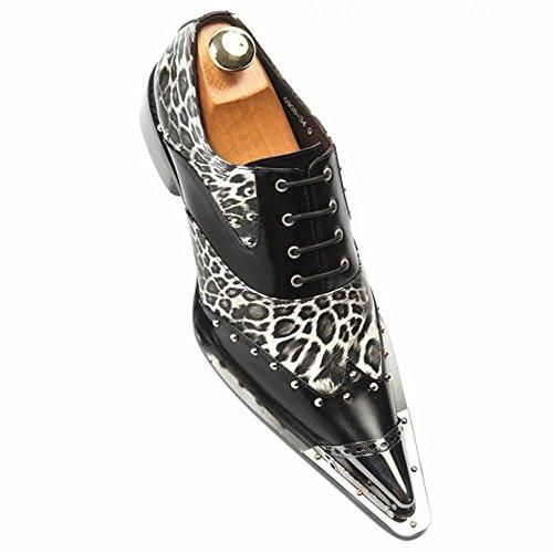 (Zota Men Black Leather Leopard European Style Dress Party Point Toe Laceup Shoe)