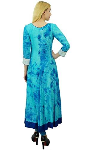 Phagun étnico algodón de la tapa 3/4 de las mangas y lazo de las mujeres del tinte Alineada de la impresión Kurti diseñador Azul