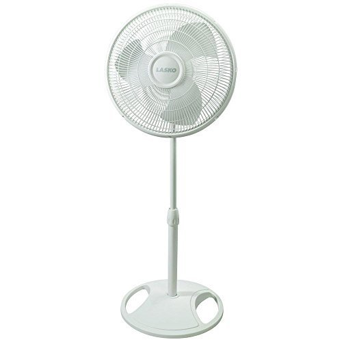 Lasko 16 Oscillating Pedestal Floor Fan with Multiple Speed Options, Fully Adjustable Height & Safety Fused Plug Included, White Finish by Lasko by Lasko