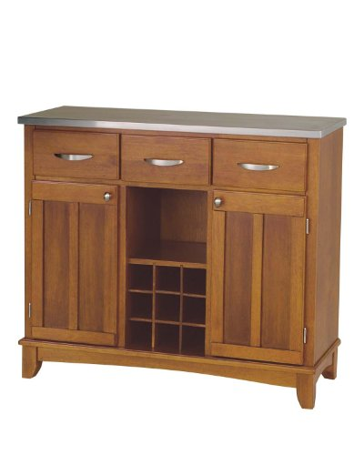 Home Styles Large Buffet Server Oak/Stainless Steel