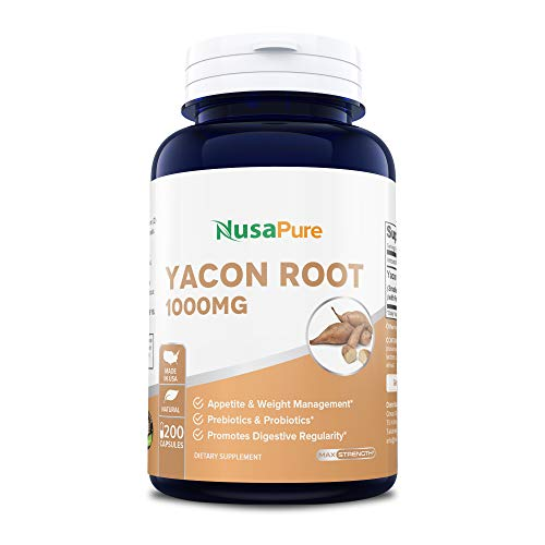 Yacon Root Extract 1000mg Serving 200 Capsules (Non-GMO & Gluten Free) - Raw Natural Prebiotic & Probiotic