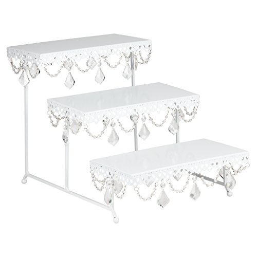 Anastasia 3 Tier Rectangular Serving Platter with Crystals, Metal Stacked Wedding Party Display, Pastry Cupcake Cake Stand, Perfect for Desserts and Appetizers (White) ()