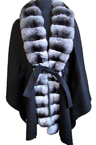 (Women's New Black 100% Cashmere & Genuine Chinchilla Fur Wrap Cape Length 31