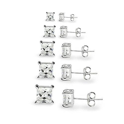 Princess Cut Sterling Silver Stud - Sterling Silver Cubic Zirconia Set