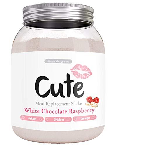 Cute Nutrition Batido Sustitutivo De Comida Sabor Chocolate Blanco Frambuesa Para El Control De La Perdida De Peso En Polvo Bebida Dietetica Para Mujer Bote De 500 G