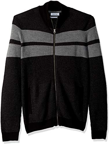 Calvin Klein Men's Merino Sweater Full Zip, ANSA Combo, Medium