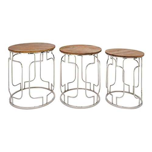 Studio 350 Stainless Steel Wood Table Set of 3, 20 inches, 22 inches, 25 inches high