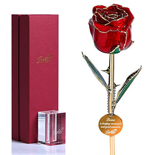 Icreer 24k Gold Dipped Red Rose Free Crystal Stand,Gifts for Anniversary,Birthday,Valentines Day,Wedding,Presents for - Present Small