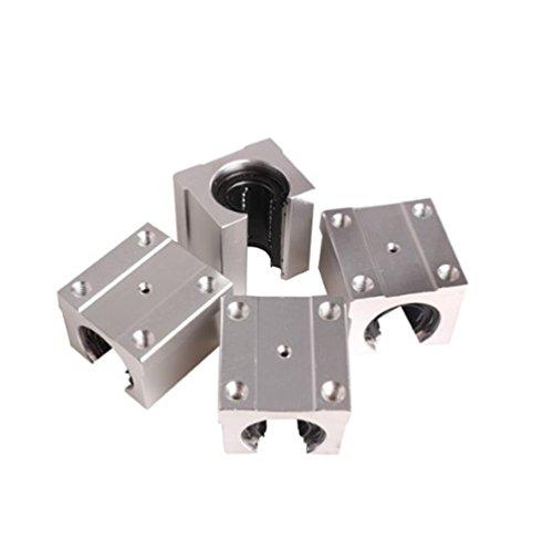 4 Linear Motion Bearing (4 Pcs SBR20UU 20mm Aluminum Open Linear Router Motion Bearing Solide Block)