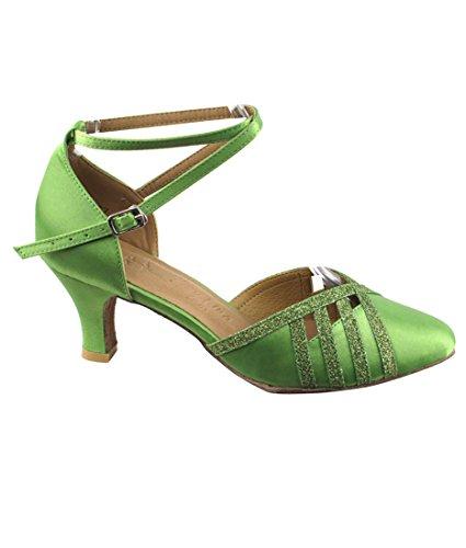 Mycket Fin Balsal Latin Tango Salsa Dansskor För Kvinnor Sera3530 2,5 Tums Klack + Vikbar Pensel Bunt Grön Satin & Green Stardust Trim