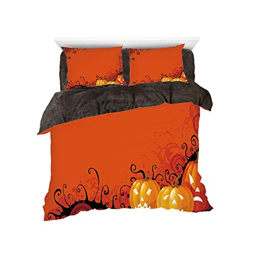 Flannel Duvet Cover Set 4-Piece Suit Warm Bedding Sets Quilt Cover for bed width 5ft Pattern by,Spider Web,Three Halloween Pumpkins Abstract Black Web Pattern Trick or Treat Decorative,Orange -