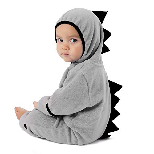 Funzies Baby Bunting Fleece Hooded Romper Bodysuit (DinoGrey/Black6-12m)