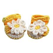 Baby Girls Yellow White Daisy Flower Crochet Sandals 6-12M
