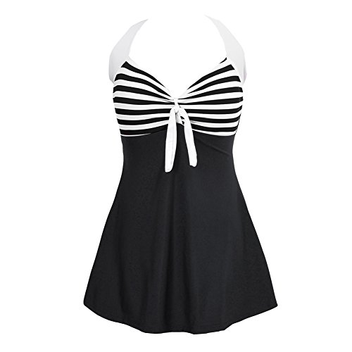 JOYMODE Women's Swimwear Flatting Cover Up Monokinis Swimsuit with Skirt Size XXL Black-White