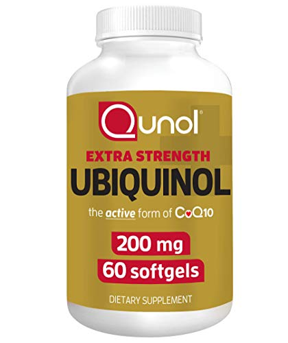 Qunol 200mg Ubiquinol, Powerful Antioxidant for Heart and Vascular Health, Essential for energy production, Natural Supplement Active Form of CoQ10, 60 Count