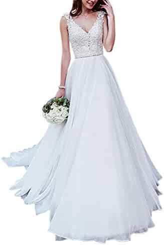 a506d5f815 Dressylady Women s A Line V Neck Cap Sleeve Beaded Applique Organza Wedding  Dress Backless