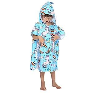 Poncho con Cappuccio Bagno per Bambini Asciugamani con Asciugamano da Bagno Asciugamano da Spiaggia Microfibra Assorbente Animale Ragazze Ragazzi Bambino (Unicorno Blu) 6 spesavip
