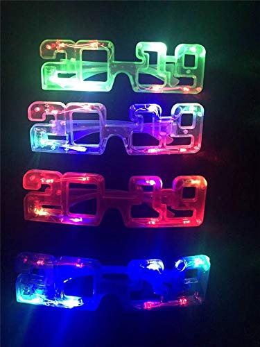 2019 New Years Party Supplies, 2019 LED Flashing Light up New Year's Eve Novelty Glasses Assorted Colors (1 Dozen)