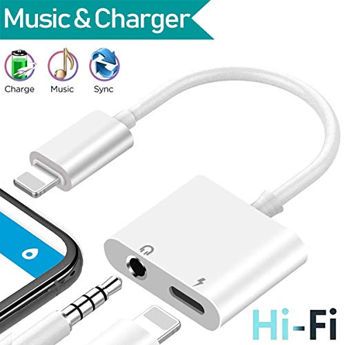 3.5 mm Headphone Jack Adapter for iPhone Xs/Xs Max/XR/ 8/8 Plus / 7/7 Plus for iPhone Aux Adapter.2 in 1 Earphone Splitter Adaptor Charger Cables & Audio Connector Dongle Support All iOS Systems