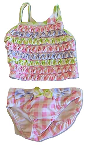 Kate Mack Baby Girls' Picnic in Provence Gingham 2 Piece Tankini Swimsuit, Pink Multi, 6 Months