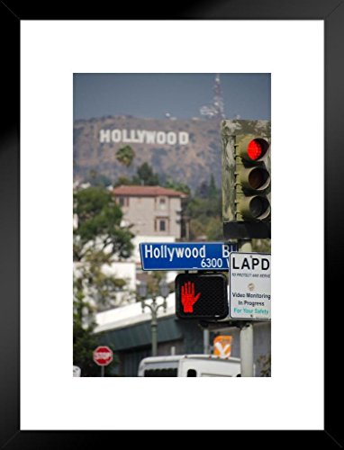 Hollywood Hills and Hollywood Boulevard Street Sign Los Angeles Photo Art Print Matted Framed Wall Art 20x26 inch