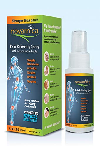 - Novarnica pain reliever spray 2.19oz made with natural ingredients, Instant relief for arthritis, joint pain, osteoarthritis, sport injuries, back pain, muscle pain, sprains, strains and bruises