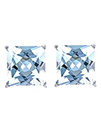Princess Cut Aquamarine March Birthstone Stud Earrings in 14k Gold Over Sterling Silver (1 cttw)