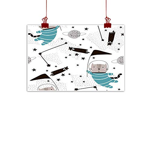 Chinese classical oil painting Seamless childish pattern with cute cats astronauts Creative nursery background Perfect for kids design fabric wrapping wallpaper textile apparel for Living Room Bedroo -