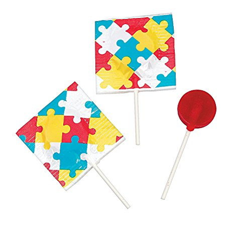 Autism Awareness Printed Suckers 1 Lb. (55 Pcs.) Cherry Flavor. Made in USA