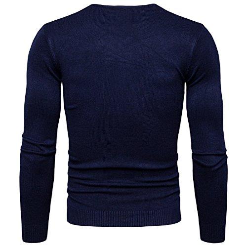 Sweat Pulls En Manches Jumper Longues Maille Bleu Homme Pull V Col Tricote Zhuikun Foncé fxH0wW