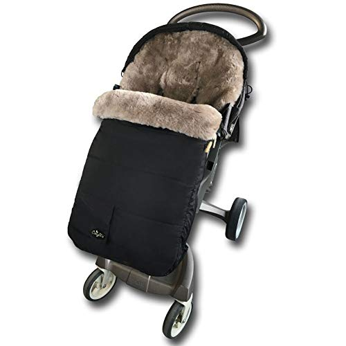 Australia Sheepskin Footmuff for All Stroller,Weather Resistant,Height and Temperature Adjustable Bunting Bag,High Performance Lambskin Bunting Bag for Travel Gear,Grey