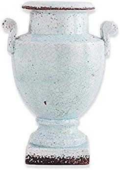 K/&K Interiors Blue Ceramic 2 Handled Tall Urn Style Pot on Base 13818A