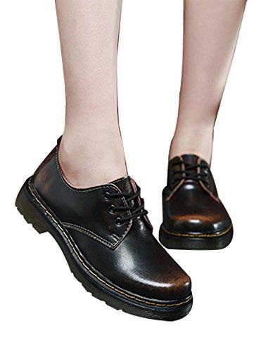 LvRao Mujer - clásico martin botas - botines de planos - botines con cordones - cortas botines piel - botines moteros para invierno Negro