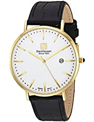Steinhausen Mens Burgdorf Swiss Quartz Stainless Steel and Leather Dress Watch, Color:Black (Model: S0521)