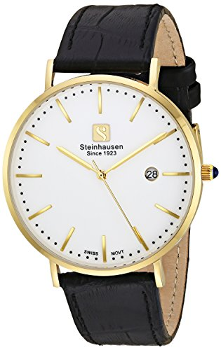 - Steinhausen Men's 'Burgdorf' Swiss Quartz Stainless Steel and Leather Dress Watch, Color:Black (Model: S0521)