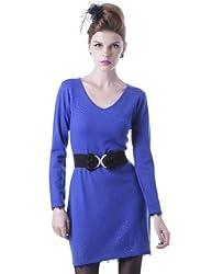 Maxchic Women's V-Neck Lace Trim Rhinestones Fine-knit Cashmere Sweater Dress Q42009S11M,Black,XX-Large