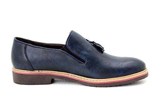 Zapatos Inteligente Casual Mocasines SIN Azul HOMBRE CIERRES Marino Borla IqzAzw
