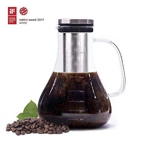 Cold Brew Coffee Maker, Premium Quality Glass Carafe with Airtight Stainless Steel Lid Brews Hot or Iced Coffee Tea Includes Removable Mesh Filter Fruit Infuser 1.5L/48oz/6cup