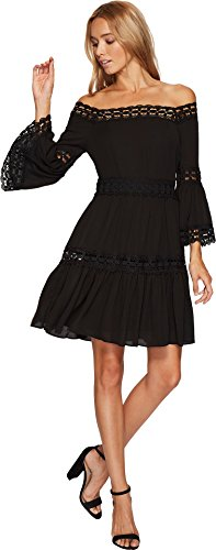 (Romeo & Juliet Couture Women's 3/4 Bell Sleeve Lace Trim Dress Black Small)
