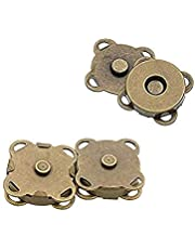 15 Sets 18mm Sew in Magnetic Purse Snap Clasps Button Bag Clasps Plum Blossom Bag Button Great for Closure Purse Handbag Clothes Sewing Craft No Tools Required