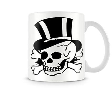 Tat   001 Look clásico tatuaje tazas – calavera con sombrero de copa – de  buen ad141774b77