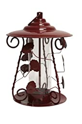 Heath Outdoor 21214 decorative Rose Mixed Seed Bird Feeder, Metal Red
