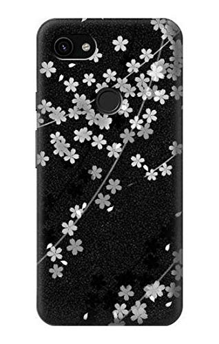 R2544 Japanese Kimono Style Black Flower Pattern Case Cover for Google Pixel 3a ()