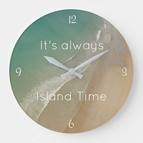 OSWALDO Beach Themed Island Time Clock Decorative Round Wooden Wall Clock - 12 inch ()